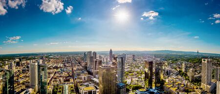 Panorama of Frankfurt on a hot summer day