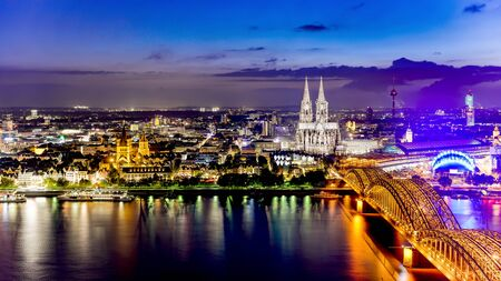 Cologne with Cologne Cathedral and Rhine River at night