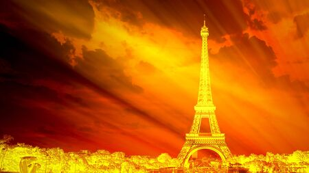 Paris and the Eiffel Tower on fire, symbolic of global warming and the end of the world Stock Photo