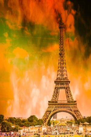 Paris and the Eiffel Tower on fire, symbolic of global warming and the end of the world Zdjęcie Seryjne