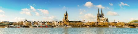 Panorama of Cologne with Cologne Cathedral, Rhine and Hohenzollern Bridge