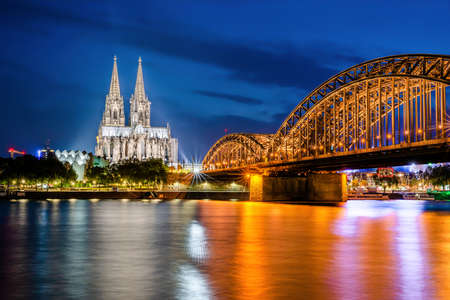 Cologne in Germany with the Cologne Cathedral at night
