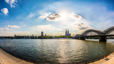 Cologne skyline with Cologne Cathedral, the Rhine and the Hohenzollern Bridge