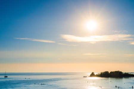 The IJsselmeer in the Netherlands with the beach of Makkum