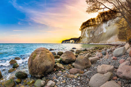 Sunset on Rügen with the Baltic Sea and the limestone cliffs in the background