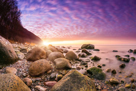 Sunset on Rügen with the Baltic Sea in the background Stok Fotoğraf