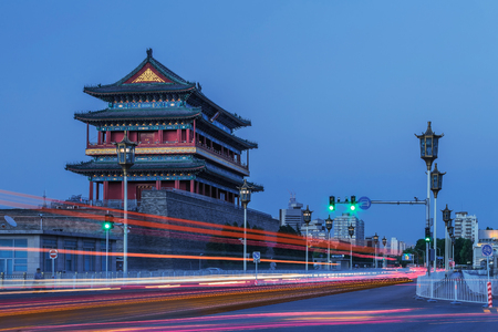Evening view of Qianmen Tower Editorial