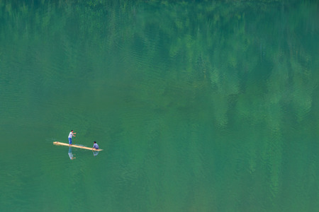 bamboo rafting on the lake