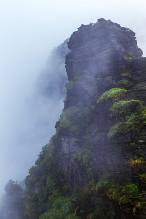 Fanjing Mountian in the Mist Stock Photo