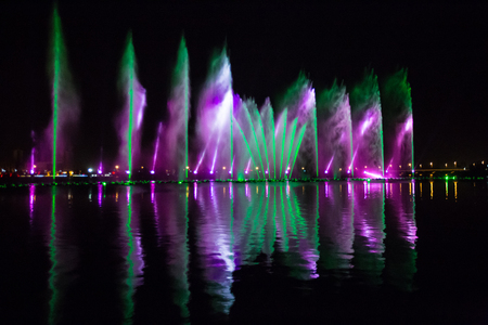 Colorful dance music fountain
