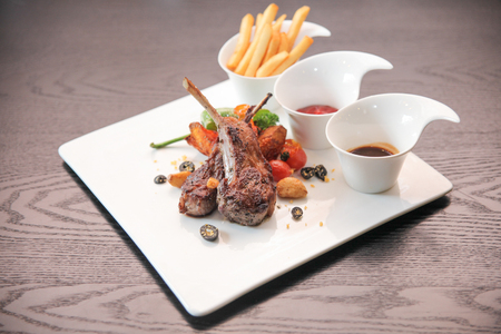 French fried lamb with rosemary sauce