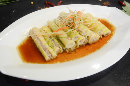 Bamboo shoots stuffed with meat