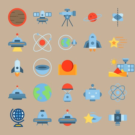 icon set about Universe with mars, hieroglyph, half planet, satellite and saturn ring Ilustrace