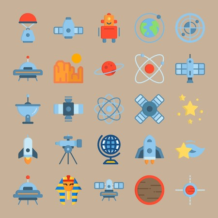 icon set about Universe with star, satellite dish, mars, robot and satellite