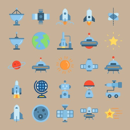 icon set about Universe with sattellite, robot car, space craft, telescope and satellite