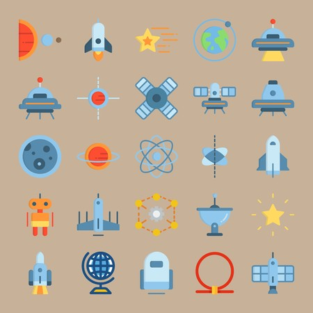 icon set about Universe with globus, circles, space craft, shooting star and earth