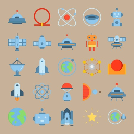 icon set about Universe with planet, earth, sun, moon and hieroglyph