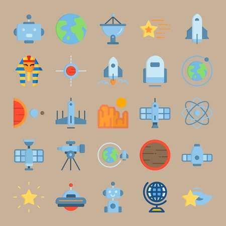 icon set about Universe with egyptian, space craft, spacecraft, planet earth and moon Vectores
