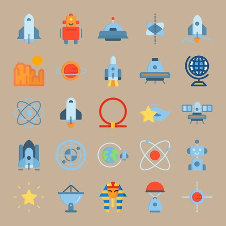 icon set about Universe with spacecraft, ufo, planet earth, space capsule and robot