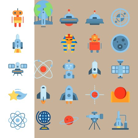 icon set about Universe with shooting star, telescope, sun, circle and robot car Zdjęcie Seryjne - 94388375