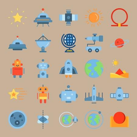 icon set about Universe with orbit, planet, pyramids, ufo and alien Zdjęcie Seryjne - 94388378