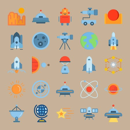 icon set about Universe with circles, spacecraft, alien, satellite and radar Ilustracja