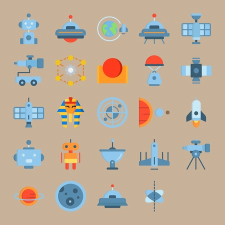 icon set about Universe with planet, robot, sun, face and radar 일러스트