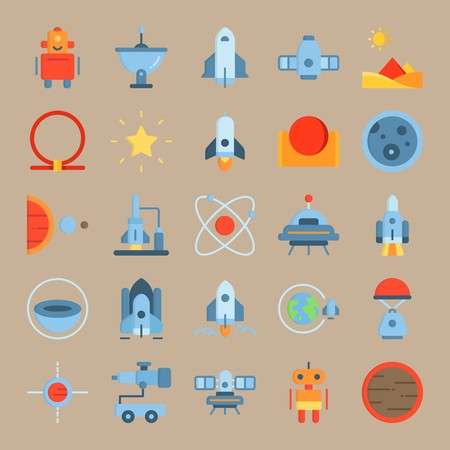 icon set about Universe with spacecraft, earth, planet, space craft and moon