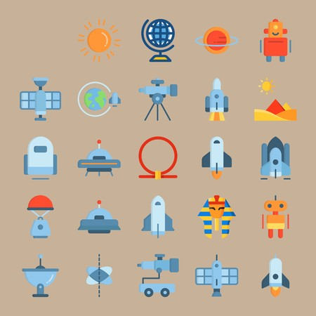 icon set about Universe with pyramids, robot, space craft, circle and globus