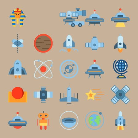 icon set about Universe with star, moon, space capsule, spacecraft and telescope