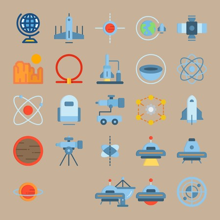 icon set about Universe with satellite dish, sun system, radar, half planet and space craft Zdjęcie Seryjne - 94388392
