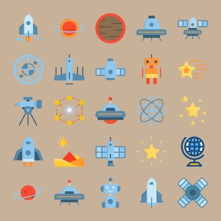 icon set about Universe with stars, satellite, robot car, globus and planet Zdjęcie Seryjne - 94388397