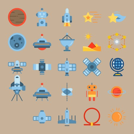 icon set about Universe with ufo, star, shooting star, diagram and robot car Zdjęcie Seryjne - 94388424