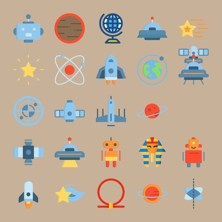 icon set about Universe with shooting star, sun system, face, ufo and alien