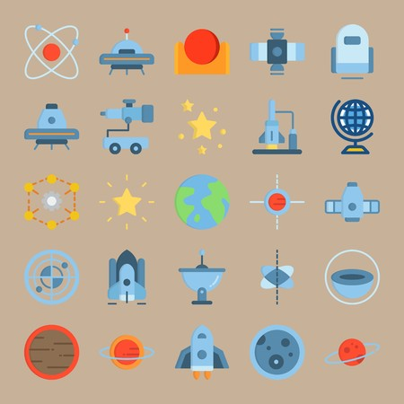 icon set about Universe with space craft, sun system, satellite, ufo and circles Ilustracja