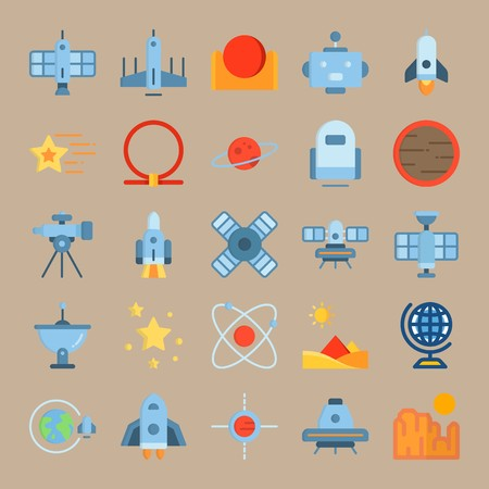 icon set about Universe with sun system, globus, satellite dish, robot and telescope