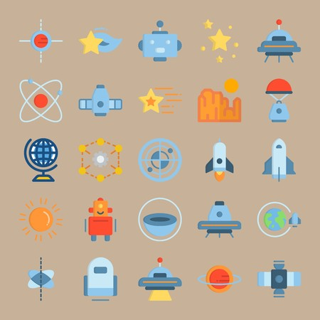 icon set about Universe with stars, circles, star, orbit and system of planets Ilustracja