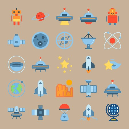 icon set about Universe with craft, star, radar, saturn ring and sun Ilustracja