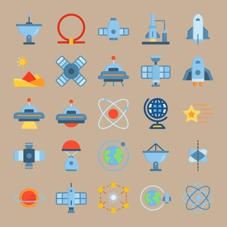 icon set about Universe with globus, ufo, sun, satellite and spacecraft Zdjęcie Seryjne - 94388444
