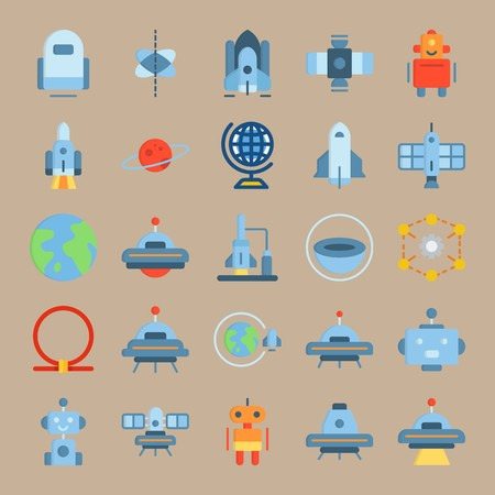 icon set about Universe with ufo, alien, planet saturn, robot car and robot Ilustracja