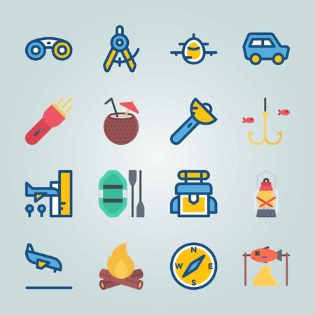 Jeu d'icônes sur la plage et le camping. avec fiahing, avion et sac Banque d'images - 94456507