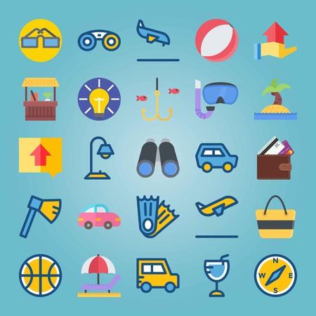Jeu d'icônes sur la plage et le camping. avec îlot, portefeuille et fiahing Banque d'images - 94456525