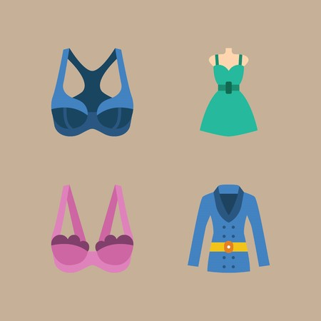 icon set about woman clothes with coat, bra and dress