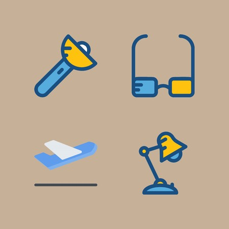 icon set about beach and camping with departure-arrival, flashlight and departure plane