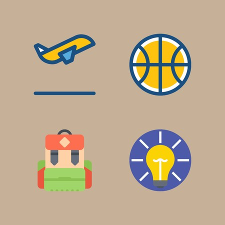 icon set about beach and camping with pack, airplane and lamp Çizim