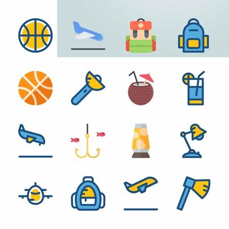 Jeu d'icônes sur la plage et le camping. avec lampe de poche, ballon et poisson Banque d'images - 94456618