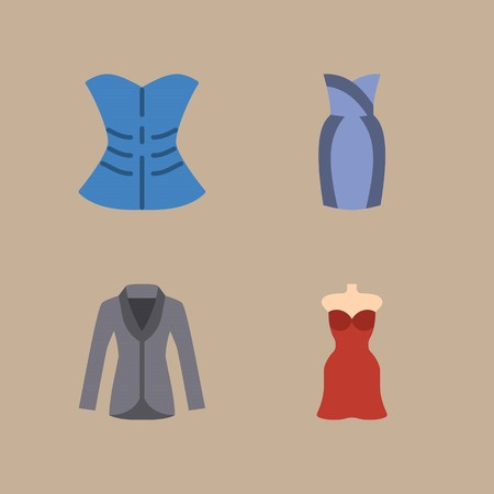 icon set about woman clothes with coat, corset and dress