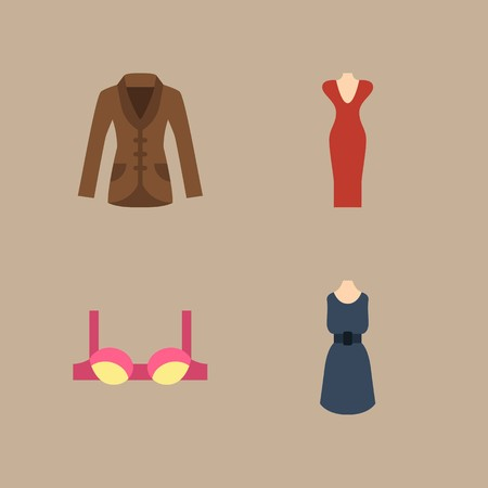 icon set about woman clothes with dress, coat and bra