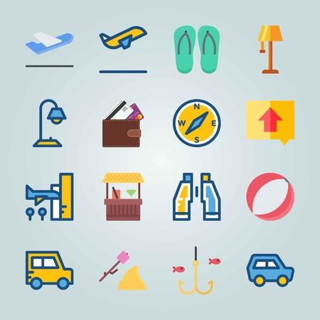 Jeu d'icônes sur la plage et le camping. avec bar, gravure et ballon de plage Banque d'images - 94456849