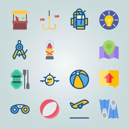 Jeu d'icônes sur la plage et le camping. avec boussole, bar et ballon de plage Banque d'images - 94429071